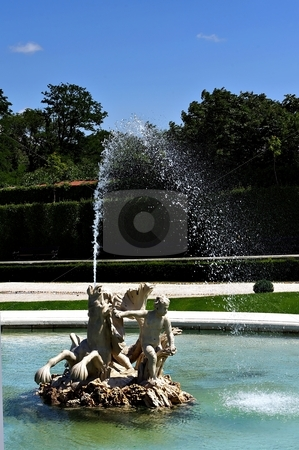 Historical fountain stock photo, Historical fountain with boys and horse statue by Juraj Kovacik