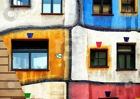 Organic architecture facade stock photo, Organic architecture colorful facade with irregular shapes by Juraj Kovacik