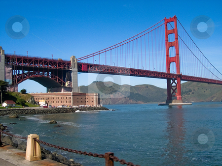Golden Gate bridge  stock photo, Golden Gate bridge with water and building by Jaime Pharr