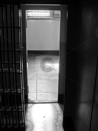 Alctraz prison cell door stock photo, Looking through an open Alctraz prison cell door by Jaime Pharr