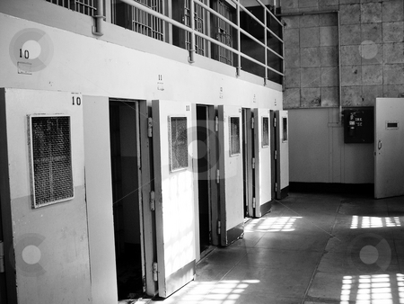 Inside Alcatraz stock photo, View of Alcatraz prison cells with open doors by Jaime Pharr