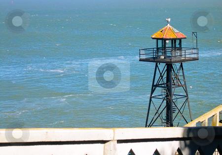 Alcatraz watch tower stock photo, Alcatraz watch tower with water background by Jaime Pharr