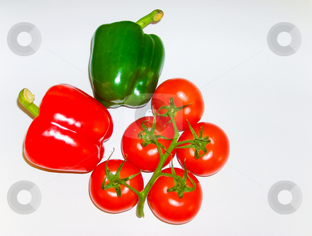 Bell peppers and tomatoes stock photo, Bell peppers and vine tomatoes by Jaime Pharr