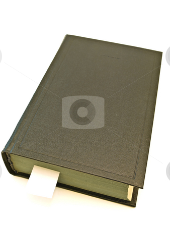 Book  stock photo, Book with book-marker at the white table by Sergej Razvodovskij