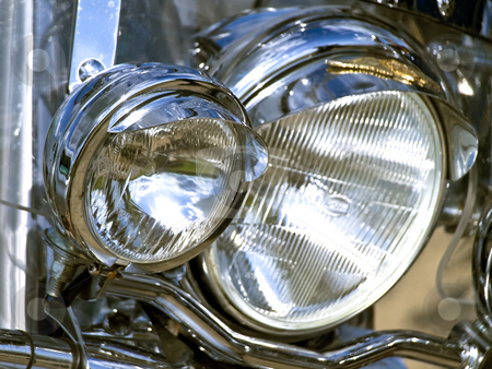 Headlight  stock photo, Two headlights of the motocycle by Sergej Razvodovskij