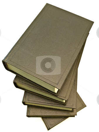 Books  stock photo, Isolated books heap against the white background by Sergej Razvodovskij