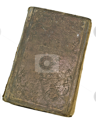 Old closed book stock photo, Old closed book at the white table by Sergej Razvodovskij
