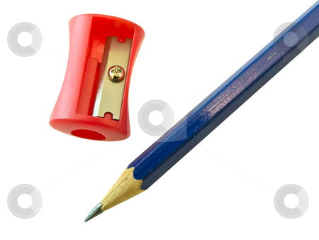 Pencil and sharpener   stock photo, Isolated pencil and sharpener by Sergej Razvodovskij