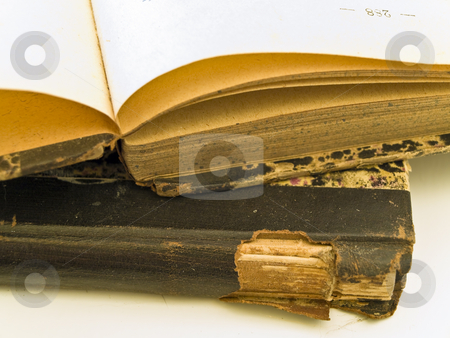 Books  stock photo, Old open book with closed book at the white table by Sergej Razvodovskij