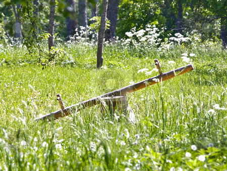 Seesaw stock photo, Wooden seesaw in the forest among the green grass by Sergej Razvodovskij