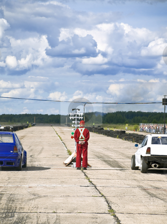 Start line stock photo, Two car on the start line of the dragrace by Sergej Razvodovskij