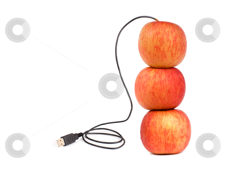USB apple stock photo, USB apple, someday we can deliver real apple by internet, or computers need green energy... by Lawren
