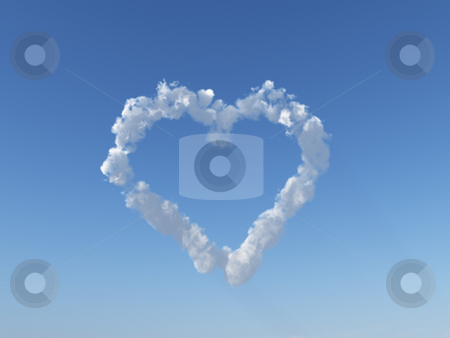 Heart stock photo, Heart clouds on blue sky - 3d illustration by J?