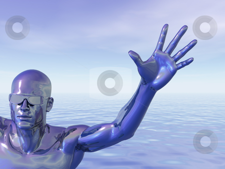Techno stock photo, Surreal man figure with sunglasses - 3d illustration by J?