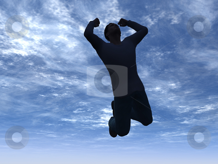 Jump stock photo, Man jumps into the sky - 3d illustration by J?