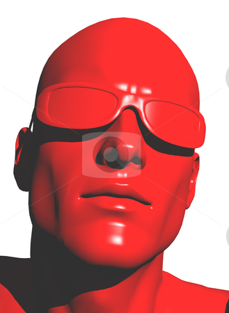 Red stock photo, Plastic human head with sunglasses - 3d illustration by J?
