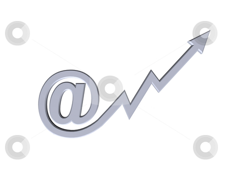 Online business stock photo, At symbol with arrow - 3d illustration by J?