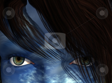 Blue face stock photo, Woman with blue cloudy face - 3d illustration by J?