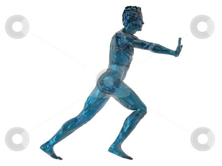 Push stock photo, Blue man sculpture push what you want - 3d illustration by J?