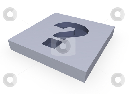 Question mark stock photo, Question mark in a block - 3d illustration by J?