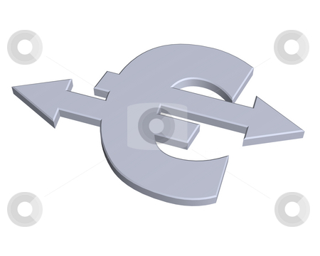 Europe currency stock photo, Euro sign with pointers - 3d illustration by J?