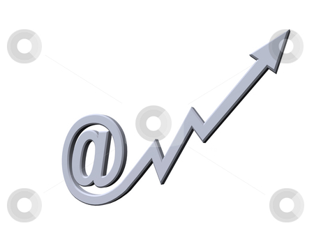 Email stock photo, At symbol with arrow - 3d illustration by J?
