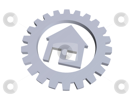 Home stock photo, House symbol in a gear wheel - 3d illustration by J?