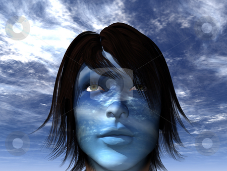 Blue stock photo, Woman with blue cloudy face - 3d illustration by J?