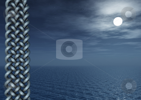 Moon stock photo, Celtic art and water landscape at night - 3d illustration by J?