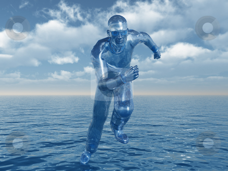 Liquid stock photo, Liquid man runs over the water - 3d illustration by J?