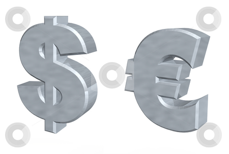 Money stock photo, Currency symbols dollar and euro - 3d illustration by J?