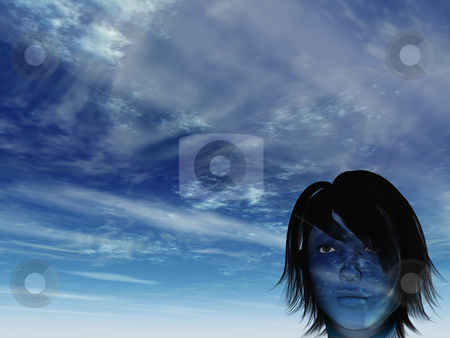 Heavenly face stock photo, Woman with blue cloudy face - 3d illustration by J?