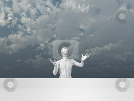 Pantomime stock photo, White human man figure with big blank sign - 3d illustration by J?