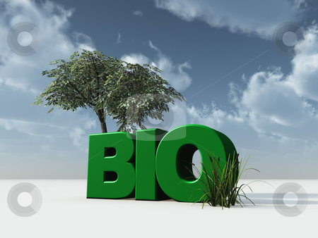 Bio stock photo, The letters bio and a tree in front of cloudy blue sky - 3d illustration by J?