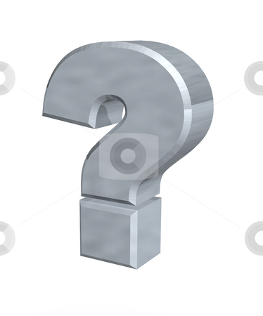 Question stock photo, Metal question mark  - 3d illustration by J?