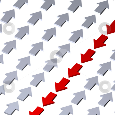 Against stock photo, Background with  arrows - 3d illustration by J?