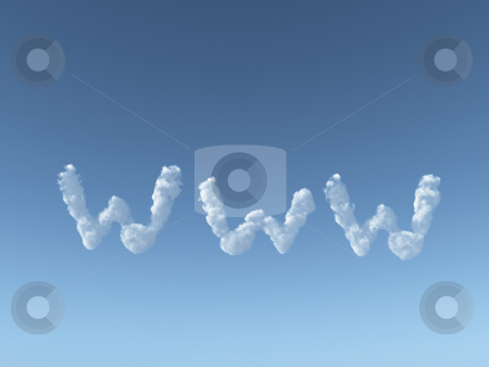 Www clouds stock photo, Www clouds on blue sky - 3d illustration by J?