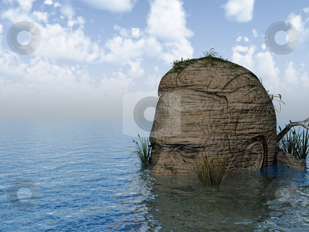 Isle stock photo, Human head rock at the ocean - 3d illustration by J?