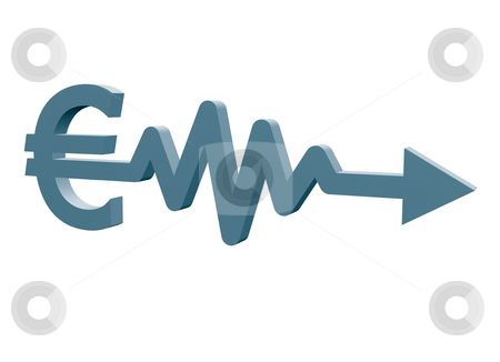 Euro stock photo, Euro sign with arrow - 3d illustration by J?