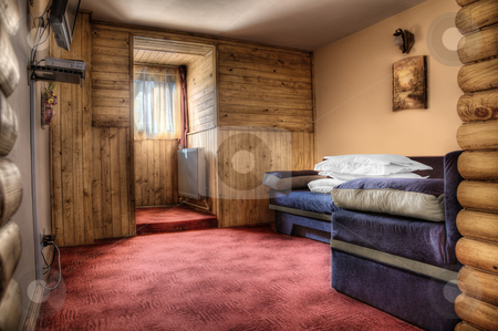Hotel bedroom stock photo, Hotel bedroom in colors red and blue empty by Adrian Costea