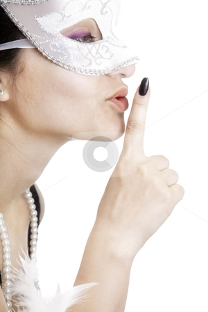 Silent woman stock photo, Woman profile silence finger lips isolated by Adrian Costea