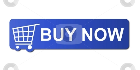 Buy Now Blue stock photo, Buy now button with a shopping cart on white background. by Henrik Lehnerer