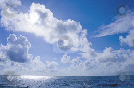 Sky stock photo, Blue sky and blue ocean by Marc Torrell