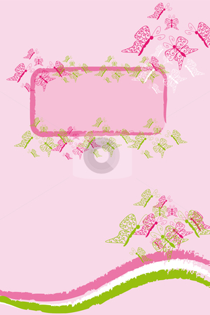 Pink butterfly banner stock vector clipart, Pink background with colored butterflies banner with lot of copy space by Karin Claus
