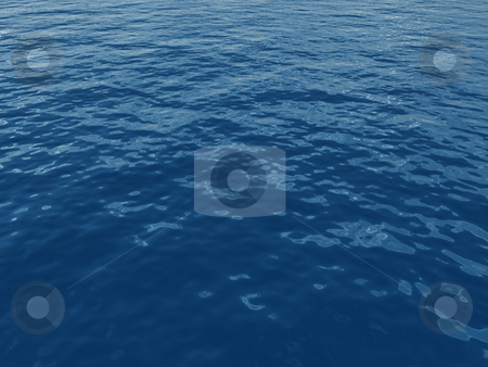 Water stock photo, Blue water surface with waves - 3d illustration by J?