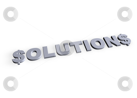 Solutions stock photo, Solutions text in 3d on white background by J?