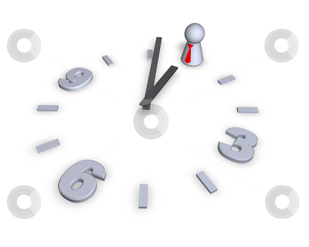 Time  stock photo, Clock with play figure - 3d illustration by J?