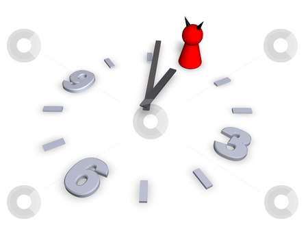 Devil stock photo, Clock with devil play figure - 3d illustration by J?