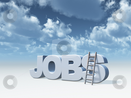 Jobs stock photo, The word jobs and a ladder in front of cloudy blue sky - 3d illustration by J?