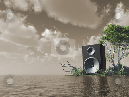 Sound stock photo, Loudspeaker at the ocean - 3d illustration by J?